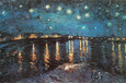 Stjernenatt over elven Rhône, ca. 1888 (Starry Night Over the Rhone, c.1888) Plakat av Vincent van Gogh