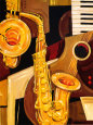 Abstract Sax Art Print by Paul Brent