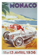 8th Grand Prix Automobile, Monaco, 1936 Kunsttryk af Geo Ham