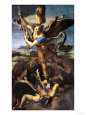 St. Michael Overwhelming the Demon, 1518 Giclée-tryk af Raphael