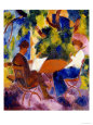 At the Garden Table, 1914 Giclée-tryk af Auguste Macke