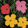 Flowers, 1964 (Red, Pink and Yellow) Konsttryck av Andy Warhol