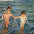 Children in the Sea, 1909 Gicleetryck av Joaquín Sorolla y Bastida