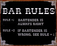 Bar Rules Tin Sign
