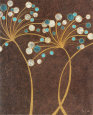 Fleurs avec bulles turquoise Reproduction d'art par Alan Buckle