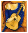 Vera A la Guitare Reproduction d'art par Guy Mourand