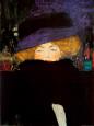 Lady with Hat Kunsttryk af Gustav Klimt
