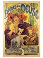 Bières de la Meuse, ølreklame, på fransk Kunsttryk af Alphonse Mucha