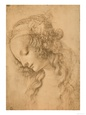 Study for the Face of the Virgin Mary of the Annunciation Now in the Louvre reproduction procd gicle par Leonardo da Vinci
