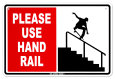 Please Use Hand Rail Blikskilt
