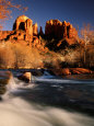 Sunset on Cathedral Rock, Oak Creek, Sedona, Arizona Photographie par Witold Skrypczak
