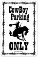 Cow Boy Parking Plaque en métal