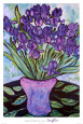 Purple Flowers in Vase Poster by Loughlin