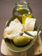 Green Olive, White Bread, Parmesan and Olive Oil Fotografisk tryk