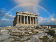 Rainbow in Sky, Parthenon, Greece Fotografisk tryk af Peter Walton