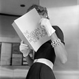 Model Jean Patchett Modeling Cheap White Touches That Set Off Expensive Black Dress Lámina fotográfica por Nina Leen
