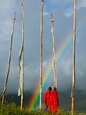 Rainbow and Monks with Praying Flags, Phobjikha Valley, Gangtey Village, Bhutan Fotografisk tryk af Keren Su