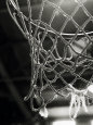 Nærbillede af basketboldnet Fotografisk tryk