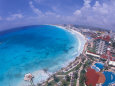 Scenic of Beach with Hotels, Cancun, Mexico Photographic Print by Bill Bachmann