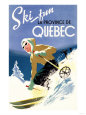 Quebec, Canada - Woman Skiing Kunsttryk af Lantern Press