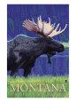 Montana, Last Best Place, Moose at Night Kunsttryk af Lantern Press