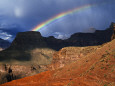 Hikers and Rainbow Kaibab Trail, Grand Canyon National Park Fotografisk tryk af Ralph Lee Hopkins
