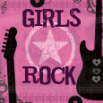 Girls Rock Art Print by Louise Carey