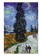 Road with Cypress and Star (van Gogh) Posters