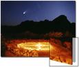 Medicine Wheel with Night Sky, and Hale-Bopp Comet, Sedona, Arizona, USA UMĚNÍ NA AKRYLU od Margaret L. Jackson