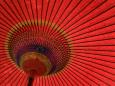 Traditional Red Japanese Paper Umbrella Fotografisk tryk af Rachel Lewis
