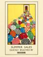 Sommerudsalg, reklame for undergrundsbanen, på engelsk Kunsttryk