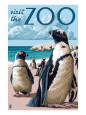 Black Footed Penguins - Visit the Zoo Kunsttryk af Lantern Press