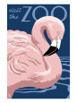 Flamingo - Visit the Zoo Kunsttryk af Lantern Press