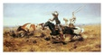 O. H. Cowboys Roping a Steer Kunsttryk af Charles Marion Russell