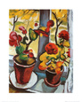 Fleurs  la fentre Reproduction d'art par Auguste Macke