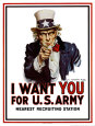 Poster de recrutement pour l'arme amricaine - I Want You for the U.S. Army, vers 1917 Reproduction d'art par James Montgomery Flagg