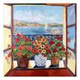 Flowers and Seascape Kunsttryk af Suzanne Etienne