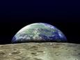 Jorden over månens overflade Fotografisk tryk