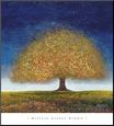 Dreaming Tree Blue Reprodukce aplikovaná na dřevěnou desku od Melissa Graves-Brown