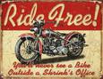 Ride Free Motorcycle Metal Tabela