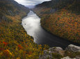 Overlooking Lower Ausable Lake from Indian Head Fotografisk tryk af Michael Melford