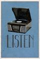 Listen Retro Record Player Art Poster Print Pôster