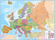 Europe 1:4.3 Wall Map, Laminated Educational Poster Lamineret plakat
