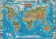 Children's Map of the World Educational Poster Plakat laminowany