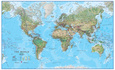 World Physical 1:30 Wall Map, Laminated Educational Poster Lamineret plakat