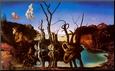 Svaner genspejler elefanter, ca.1937 Opspændt tryk af Salvador Dalí