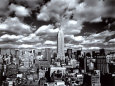 New York, New York, Sky Over Manhattan Kunsttryk af Henri Silberman