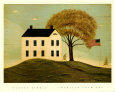 House with Flag Art Print by Warren Kimble