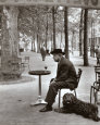 Jacques Prévert, Paris 1955 Reproduction d'art par Robert Doisneau