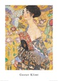 Lady with Fan Kunsttryk af Gustav Klimt